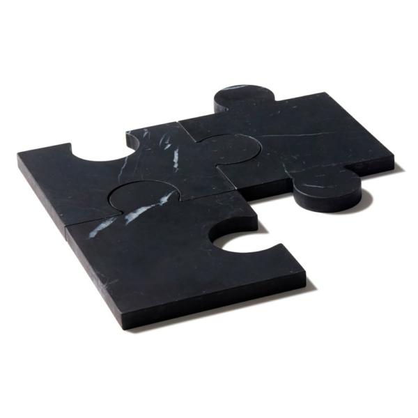 Karol Droszcz Stone-Cut Puzzle Coasters in Black Marble